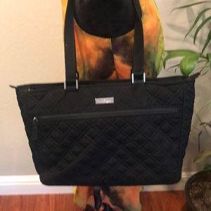 Vera Bradley black quilted laptop bag